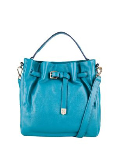 Cole Haan Expanded Leather Bucket Bag - TEAL