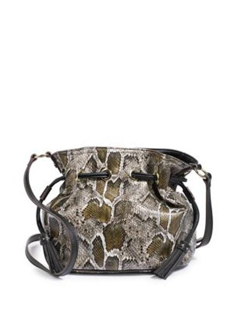 Anne Klein Lizard Drawstring Bucket Bag - GREEN