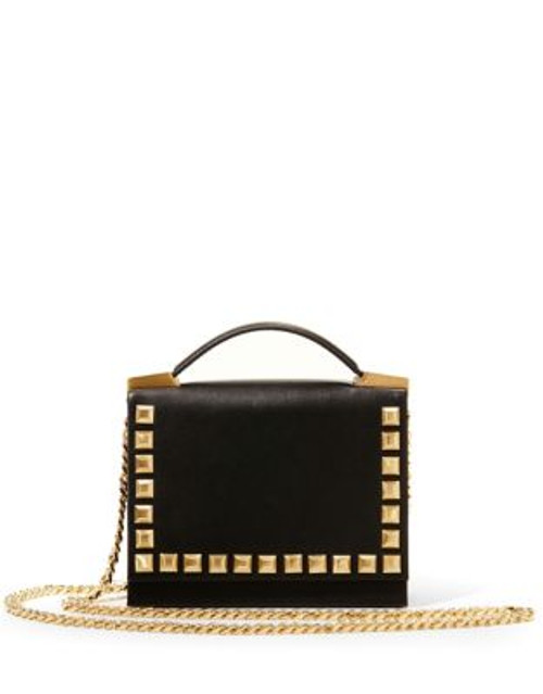 B Brian Atwood Alyce Studded Top-Handle Leather Bag - BLACK