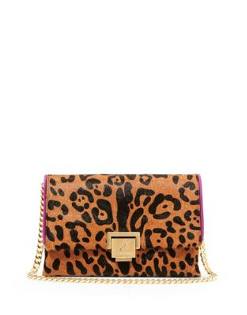 B Brian Atwood Loren Leather Handbag - LEOPARD/PINK