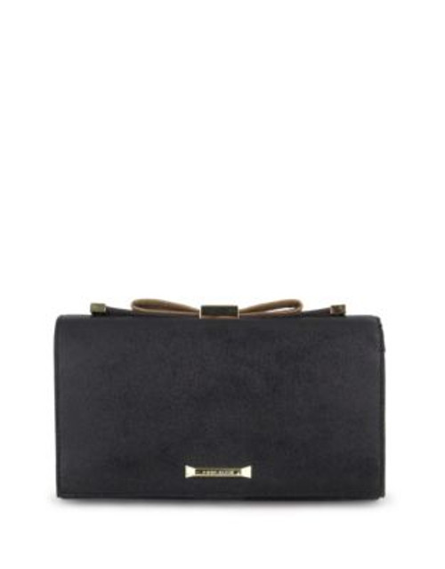 Anne Klein Faux Leather Bow Top Clutch - BLACK/GOLD