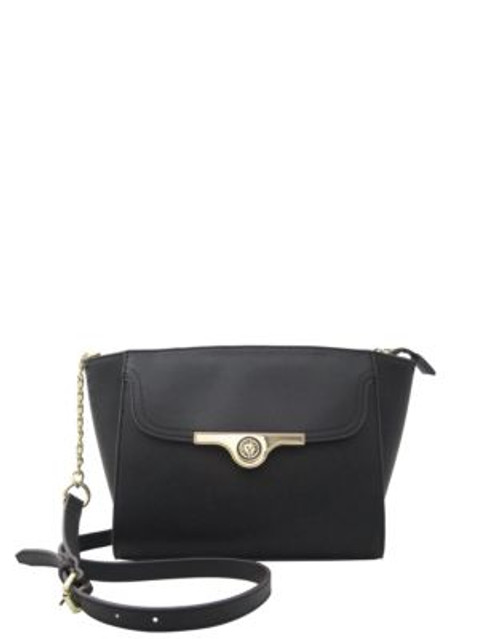 Anne Klein Faux Saffiano Leather Crossbody - BLACK