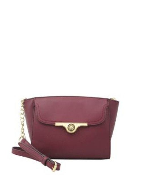 Anne Klein Faux Saffiano Leather Crossbody - BORDEAUX