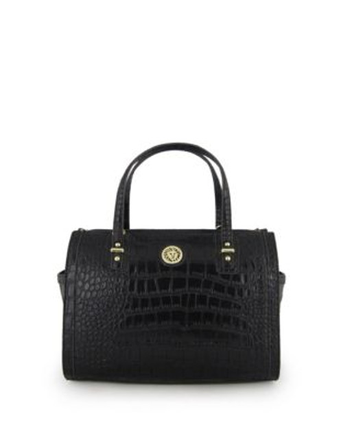 Anne Klein Croc-Embossed Duffle Bag - BLACK CROCO