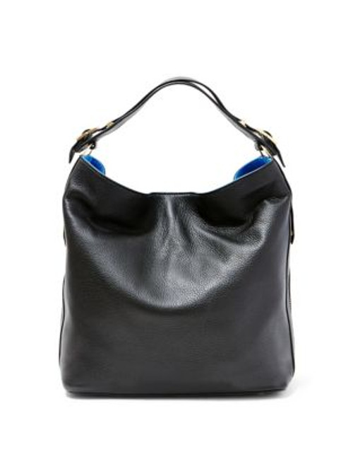 B Brian Atwood Colette Leather Bag - BLACK/COBALT