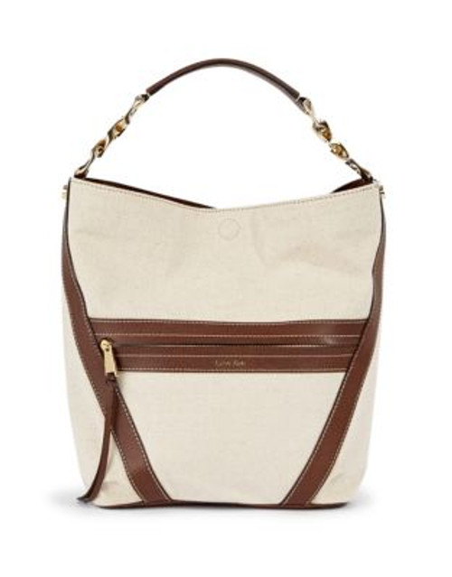 Calvin Klein Canvas Curb Chain Detail Hobo Bag - BROWN