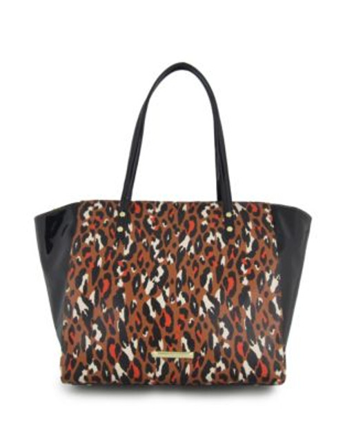 Anne Klein Leopard Faux Leather Tote Bag - HAZEL MULTI/BLACK