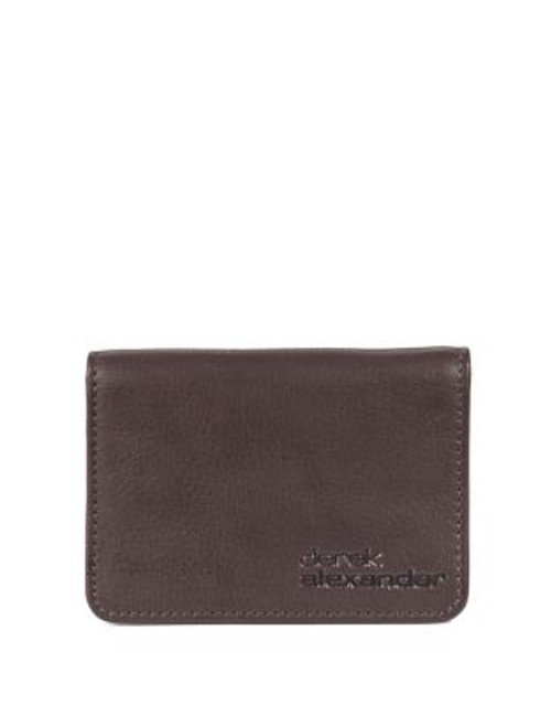 Derek Alexander Foldover Leather Card Holder - BROWN