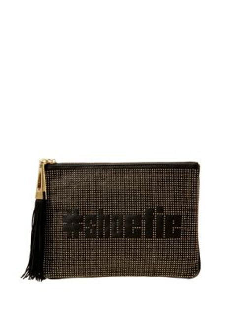 B Brian Atwood Studded Leather Hashtag Case - BLACK/SILVER