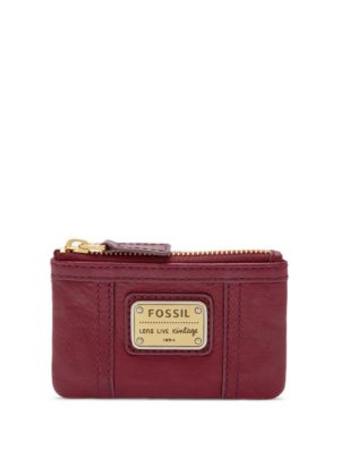 Fossil Emory Leather Zip Coin Pouch - MAROON