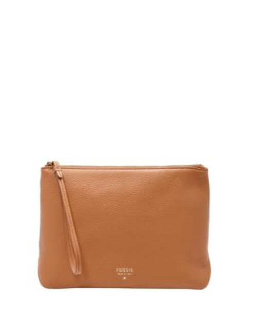 Fossil Leather Cosmetic Case - CAMEL