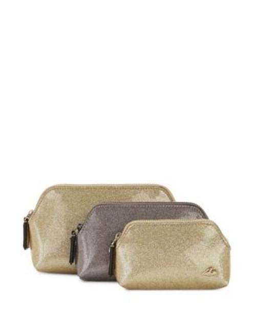 Diane Von Furstenberg Three-Piece Glitter Cosmetics Case Set - GOLD