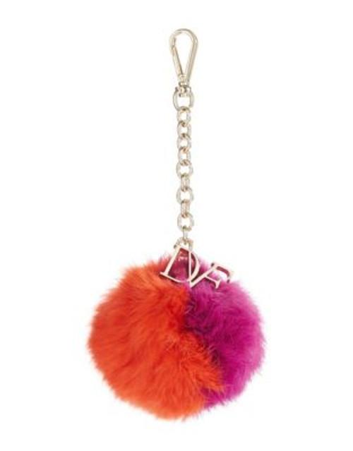 Diane Von Furstenberg Bi-Colour Rabbit Fur Pom-Pom - AZALEA