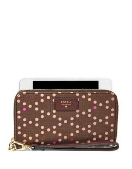 Fossil Dotted Sydney Zip Phone Clutch - CORDOVAN