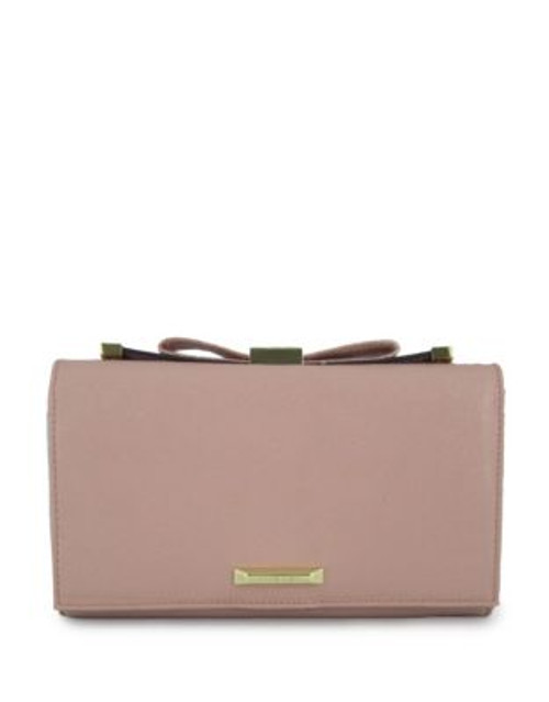 Anne Klein Faux Pebbled Leather Bow Clutch - BLUSH