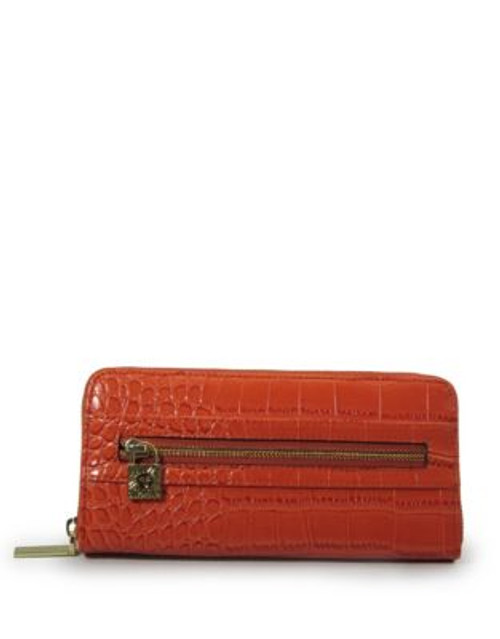 Anne Klein Croc-Embossed Zip-Around Wallet - ORANGE CROCO