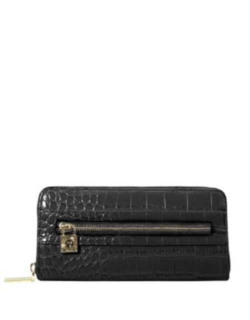 Anne Klein Croc-Embossed Zip-Around Wallet - BLACK CROCO