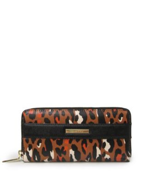 Anne Klein Leopard Faux Leather Zip Wallet - HAZEL MULTI BLACK