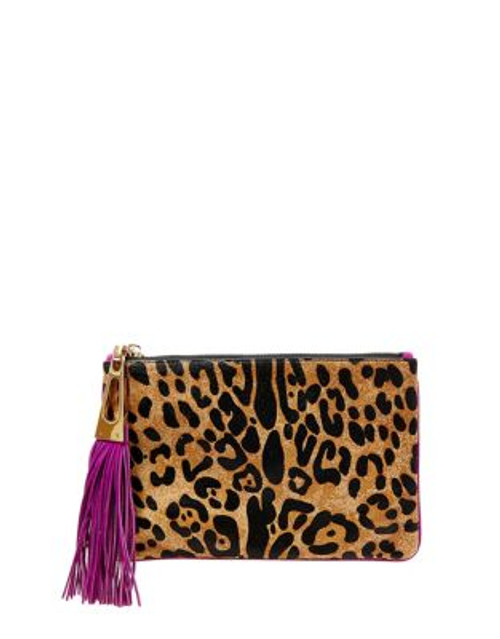 B Brian Atwood Winfred Animal-Print Leather Wristlet - LEOPARD