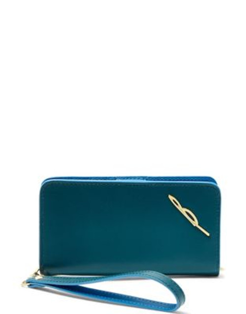 B Brian Atwood Bridget Leather Wristlet - TEAL COLOURBLOCK
