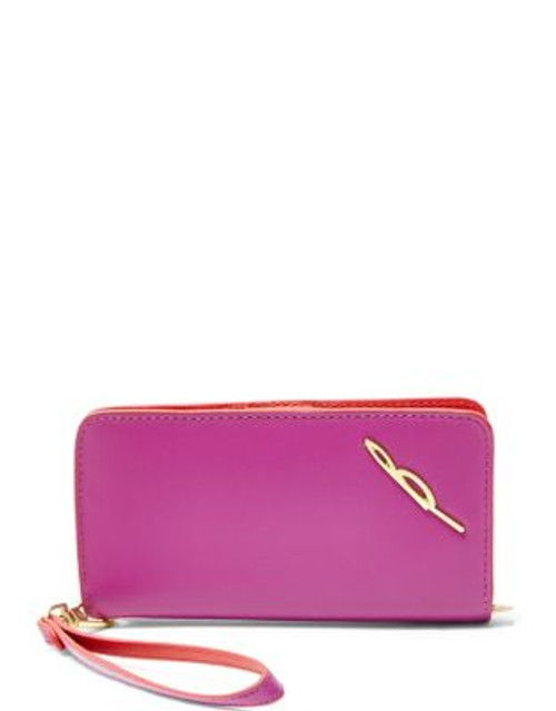 B Brian Atwood Bridget Leather Wristlet - FUCHSIA COLOURBLOCK