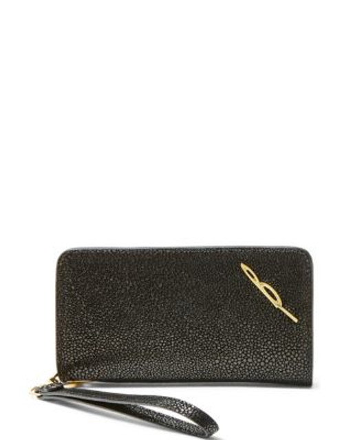 B Brian Atwood Bridget Leather Wristlet - CAVIAR