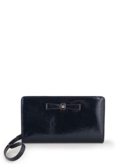 Anne Klein Sparkle Faux Leather Bow Wristlet - MIDNIGHT GLITTER