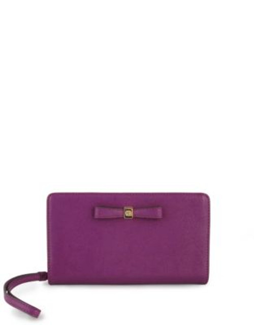Anne Klein Faux Pebbled Leather Bow Wristlet - MAGENTA