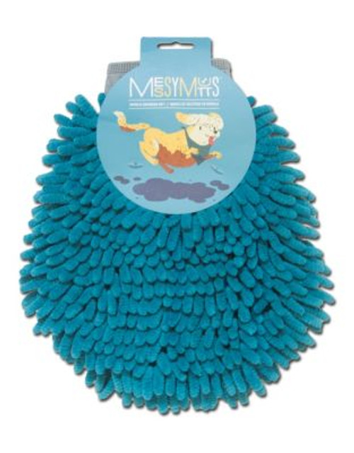 Messy Mutts Chenille Pet Grooming Mitt - BLUE