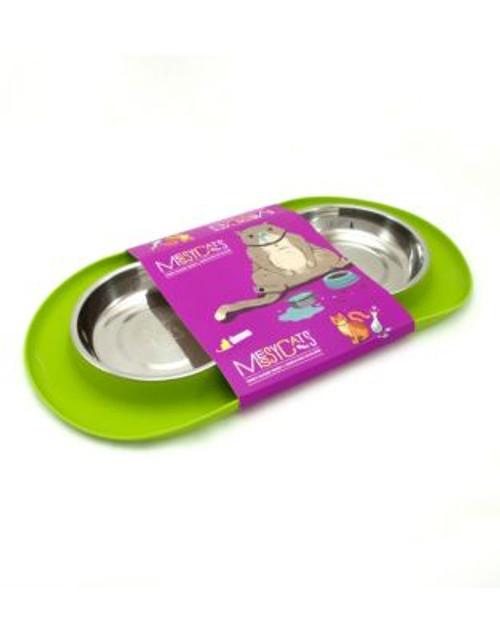 Messy Mutts Double Medium Pet Feeder - GREEN - MEDIUM
