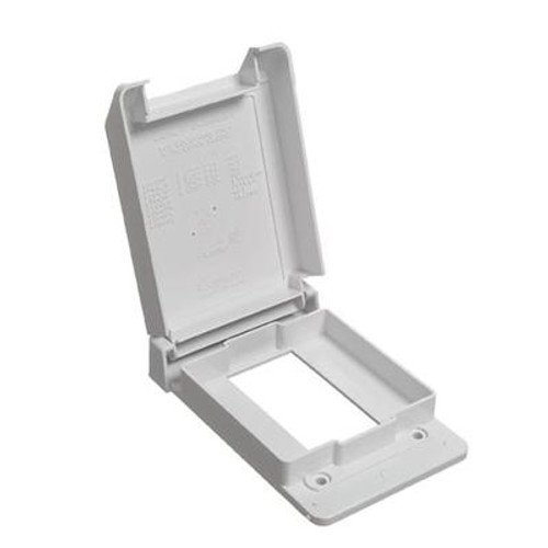 Weatherproof Single Gang GFI Vertical PVC Cover – White