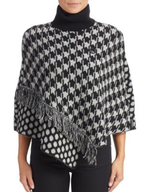 Armani Jeans Dot and Houndstooth Poncho - BLACK - MEDIUM