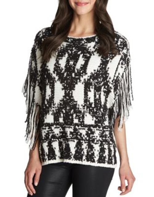1 State Fringe Sleeve Wool-Blend Poncho - GREY - LARGE