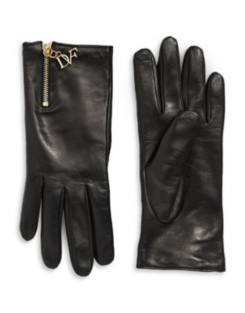 Diane Von Furstenberg Colourblocked Leather Gloves - BLACK/FERRARI RED - 8