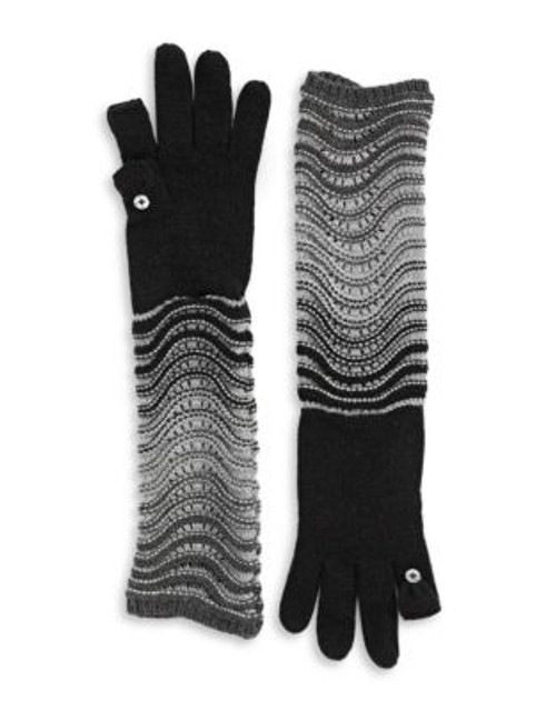 Calvin Klein Ombre Elbow Length Gloves - BLACK