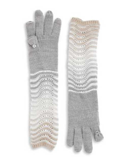 Calvin Klein Ombre Elbow Length Gloves - HEATHERED MID GREY