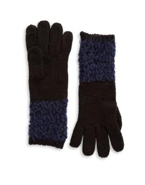 Calvin Klein Boucle Trimmed Gloves - NAVY