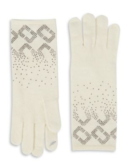 Diane Von Furstenberg Embellished Knit Gloves - POWDER
