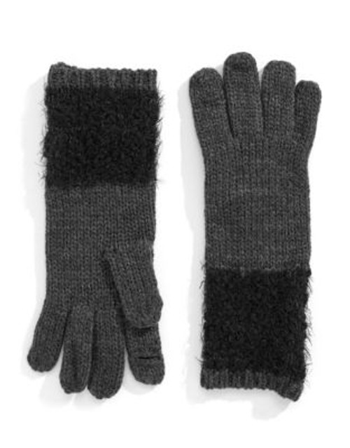 Calvin Klein Boucle Trimmed Gloves - BLACK/GREY