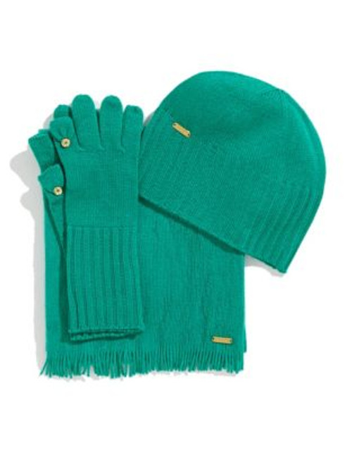 Calvin Klein Three Piece Hat Glove and Scarf Set - JADEITE