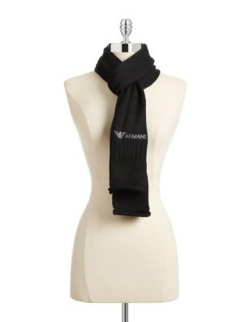 Armani Jeans Bejewelled Wool-Blend Scarf - BLACK