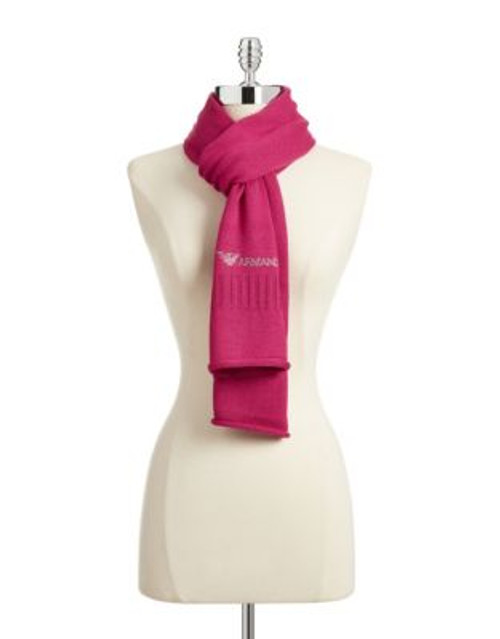 Armani Jeans Bejewelled Wool-Blend Scarf - PINK