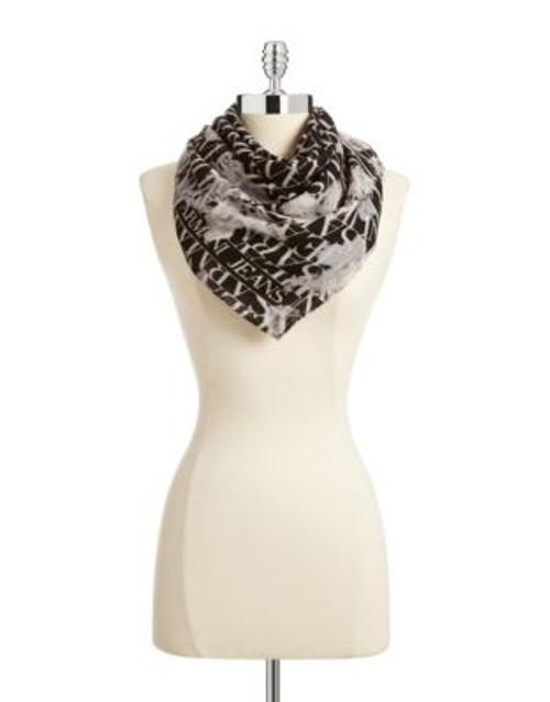 Armani Jeans Floral Logo Wool Scarf - BLACK
