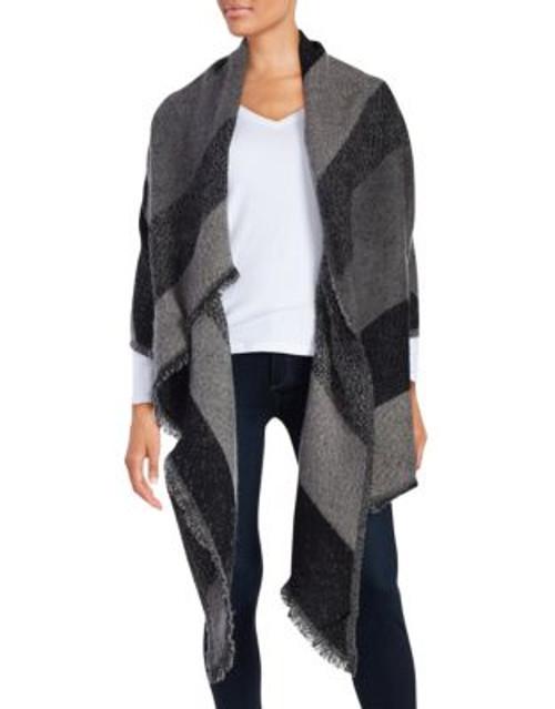 Calvin Klein Asymmetrical Blanket Scarf - BLACK