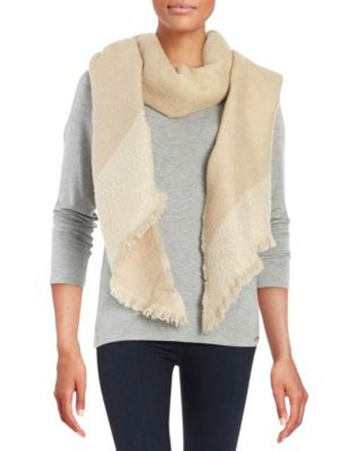 Calvin Klein Asymmetrical Blanket Scarf - LATTE
