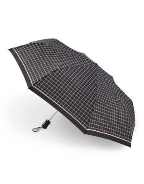Fulton Bordered Check Umbrella - BLACK