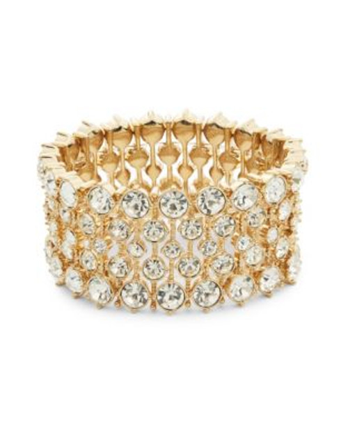 A.B.S. By Allen Schwartz Headlight Stone Stretch Bracelet - GOLD
