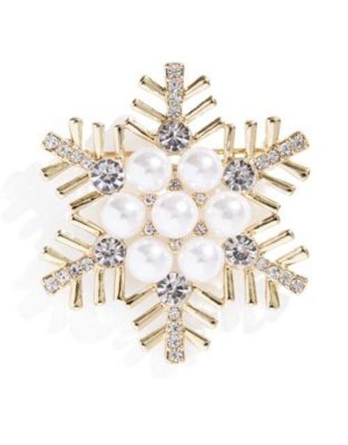 Jones New York Boxed Snowflake Pin - WHITE