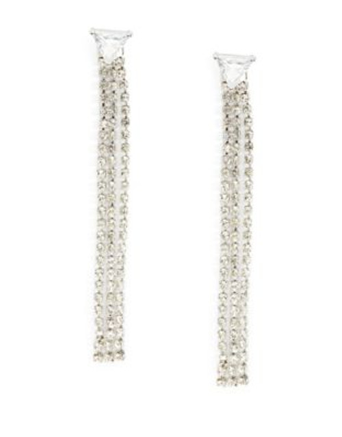 A.B.S. By Allen Schwartz Crystal Drop Earrings - WHITE