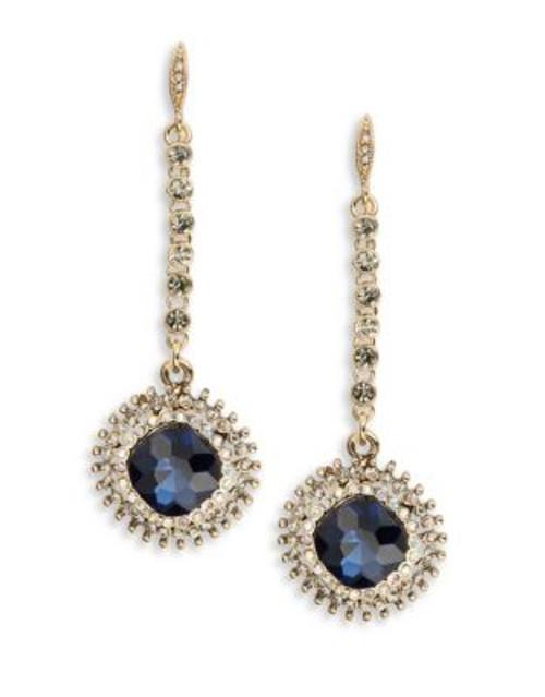A.B.S. By Allen Schwartz Faceted Stone Drop Earrings - GREY